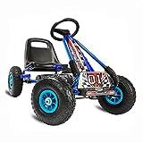 Kiddo by Raygar Racer - Kart de Pedales para niños (Asiento Ajustable, Ruedas de Goma para niños de 4 a 8 años), Color Azul