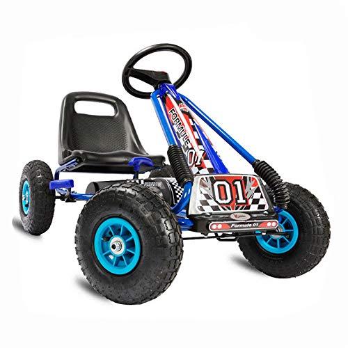 Kiddo RG0207 Kinderpedal Racer Design blau Kinderpedal Go-Kart Ride-On Auto Verstellbarer Sitz Gummireifen für 4 bis 8 Jahre (Fantastische Vier 8)