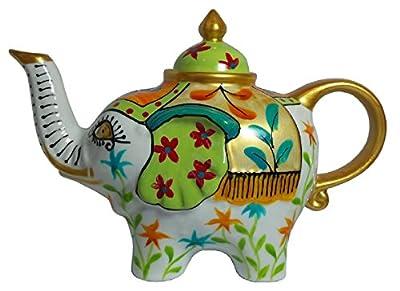 Éléphant-verseuse design: blanc-vert-théière en porcelaine avec couvercle 1827