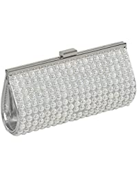 24X7 Emall Silver Pearl Women's Clutch
