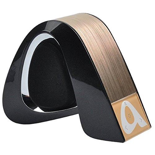 EME ETS-Lautsprecher Bluetooth Wireless System und Subwoofer, Support TF-Karte spielen eine Bass Resonatorgitarre, Subwoofer Effekt/Integriertes Mikrofon/für Smartphones, Tablets, Laptops, Computer PC (schwarz + gold)