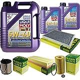 Filter Set Inspektionspaket 7 Liter Liqui Moly Motoröl Leichtlauf High Tech 5W-40 MANN-FILTER Innenraumfilter Kraftstofffilter Luftfilter Ölfilter