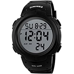 Topwatch Mens Military Digital Sport Watch Electronic LED Water Resistant,Alarm Wrist Watch - Black