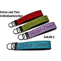 Schlüsselanhänger aus Wollfilz mit Bestickung von individuellem Text Wunschtext Wunschname Filz Geschenk Schlüsselband