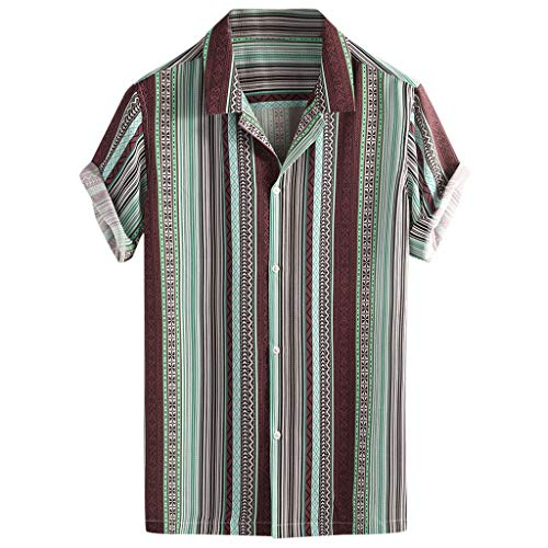 930b47d6add5 Lazzboy Uomo Camicia Top Multicolor Stripes/Color Block Plus Size Graffiti  Manica Corta Bottoni Larghi Largo Bluse(L,Chiaro Verde-Etnico Ⅲ)