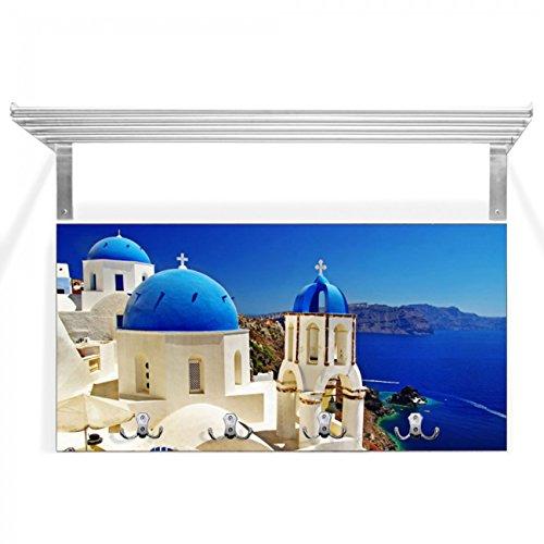 banjado - Design Garderobe braun mit Hutablage 80x40x28cm Wandgarderobe Flur 4 Metallhaken Edelstahloptik Motivgarderobe Griechenland