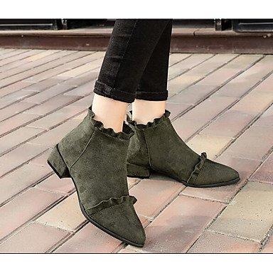 Stivali Donna Comfort Nubuck in pelle Primavera Casual Comfort Army Verde Nero Flat Black