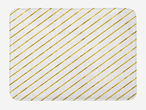 Striped Bath Mat, Diagonal Geometrical Lines with Abstract And Modern Design Artistic Print, Plush Bathroom Decor Mat with Non Slip Backing, 23.6 W X 15.7 W Inches, White And Yellow