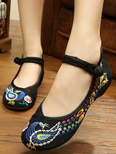 Icegrey Slip On Chaussures Plat Slipper Femme Mary Janes Fait Main Broderie Ethnique Paon Ballerine Noir