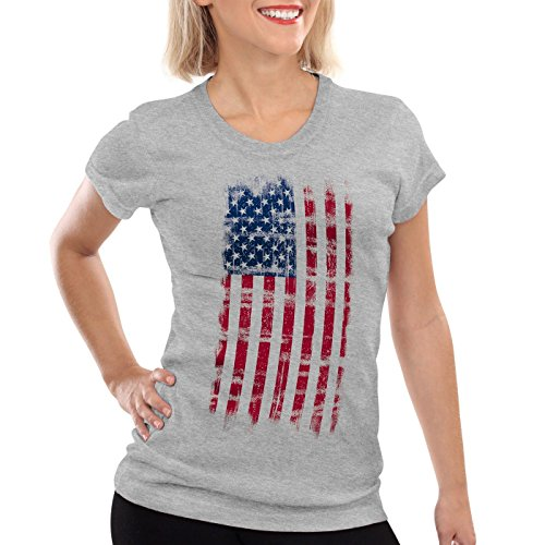 CottonCloud USA Vintage Flagge Damen T-Shirt, Farbe:Grau meliert;Gr��e:XL (Us-fußball-wm)