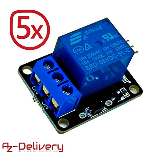 AZDelivery ⭐⭐⭐⭐⭐ 5 x 1-Relais KY-019 Modul High-Level-Trigger für Arduino -