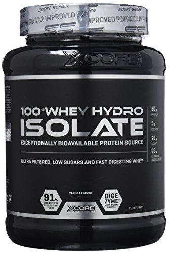 Xcore 100% Whey Hydro Isolate SS en poudre (900 g) - Meilleur goût vanille pour le brûlage de graisse, la récupération musculaire et la musculation. Facile à digérer et faible en glucides - 29 doses !