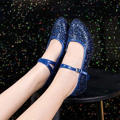 XIAMUO Anpassbare Damen Tanz Schuhe Moderne synthetische Angepasste Ferse Schwarz/Blau/Pink/Silber/Gold Silber
