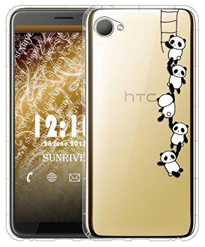 Sunrive Für HTC Desire 12 Hülle Silikon, Transparent Handyhülle Luftkissen Schutzhülle Etui Case für HTC Desire 12(TPU Panda 1)+Gratis Universal Eingabestift