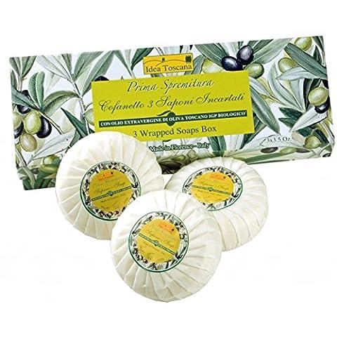 Idea Toscana - Traditionelle Marseille Seife, Traditional Marsiglia Soap 3 x 100 Gramm Box - Prima Spremitura Naturkosmetik aus dem Herzen der Toskana