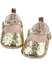 Ziory Golden Toddler Soft Sole Crib Bling Sequins Newborn Baby Toddler Infant Girls Anti-Slip Soft Bottom with Ribbon and Heart Patten First Walking Prewalker Shoes (10-12 months) Baby Shoes for baby girls