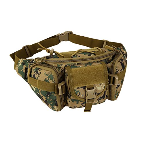 MagiDeal Große Taktische Hüfttasche Militärische Gürteltasche mit Reißverschluss für Outdoor Sport Trekking Wandern Multifunktionale Bauchtasche Jungle Digital