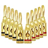 Banana Plugs, 24k Gold Plated Connectors, Open Screw Type, 5 Pairs