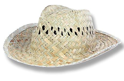 Strohhut Stroh-Hut Cowboy Style beige Sonnenhut 58-60 cm (Herren-stroh-hüte Cowboy-hut)