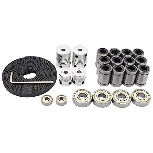 Redrex Kits de Movimiento de la Impresora 3D Para Reprap Prusa i3 Acoplador Del Eje Del Motor + GT2 de Correas Dentadas 20T + Polea + 608ZZ Rodamiento + LM8UU Lineal + 624zz Teniendo