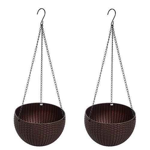 Cheerfulus Hängepflanztopf Hanging Sphere,Hängeschale für Balkon,hängenden Pflanzgefäß mit Topf,Kunststoff Rund Blumenampeln Hängeampeln Hängepflanztopf,Kaffee Braun,2er Set