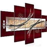 Bilder Abstrakt Wandbild 150 x 100 cm Vlies - Leinwand Bild XXL Format Wandbilder Wohnzimmer Wohnung Deko Kunstdrucke Rot 5 Teilig - MADE IN GERMANY - Fertig zum Aufhängen 103953a