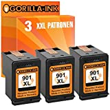 Gorilla-Ink® 3 Druckerpatronen XXL remanufactured für HP 901 XL Black OfficeJet 4500 Series 4500 Wireless J 4550 J 4580 J 4680 J 4680 C