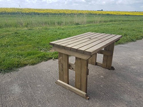 HOLLIES Wooden Garden Dining Picnic Table - Heavy Duty - Handmade Outdoor Furniture in UK - Pressure Treated (6ft, Rustic Brown)