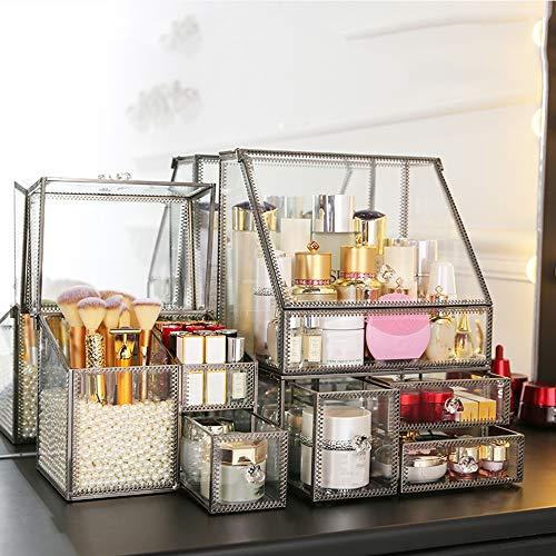 DNNAL Boîte de Rangement cosmétique Ensemble de Rangement cosmétique Multifonctionnel réglable pour Organisateur de Maquillage Acrylique, vitrines de Grande capacité,Silver