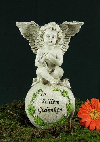 23cm Engel auf Kugel + Spruch Grabschmuck Trauer Grab Dekoration Steinharz