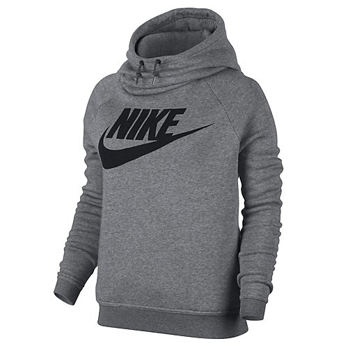 Nike Damen Sportswear Rally Hoodie Gx1 Kapuzenpullover Kohlenstoff Heidekraut grau/Dunkelgrau/Schwarz