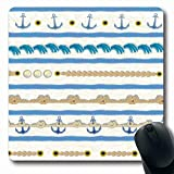 Luancrop Mousepad per Notebook Computer Posto Barca Confini Blu da Crociera Andor Sea Marine Nodo navale Nave Disegno dell'ancora Pagina Mouse Pad da Gioco Antiscivolo