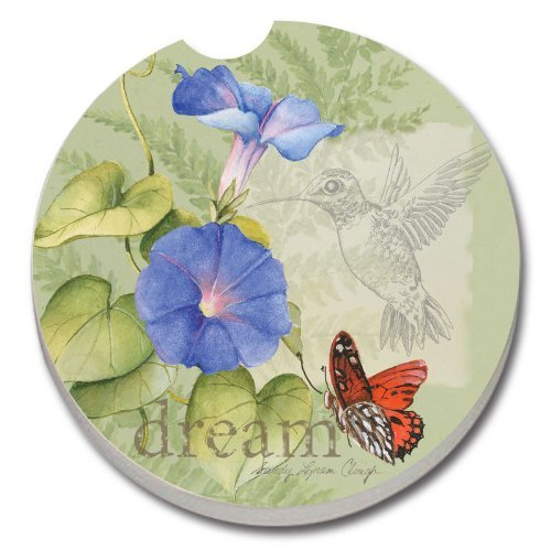 Wildflower, Butterfly, Hummingbird Dream Message - Single Car Coaster by Couner Art by Creative Ventures -