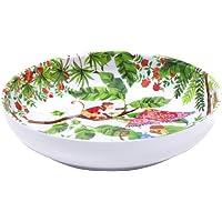 Les Jardins de la Comtesse - Assiette Creuse en Mélamine Pure/Assiette à Soupe ou Pâtes Rouge Corail-Verte du Service de…