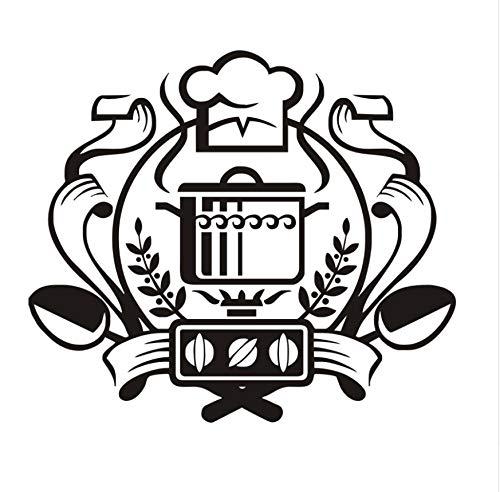 Chef Abzeichen Wandaufkleber Ausgangsdekor Wandbild Kunst Aufkleber Auf Den Gasherd Wandaufkleber Vinyl Küche Esszimmer Aufkleber 50x44 cm