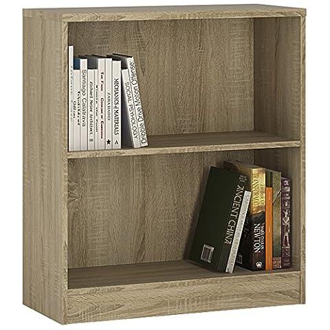 Furniture To Go 4 YOU Low Wide Bookcase with Melamine, 74 x 85.5 x34.6 cm, Sonama Oak