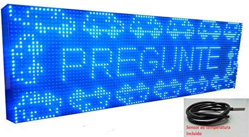 Schild LED programmierbar mit Sensor Temperatur- und Text-Uhr/Programmierbar Schild/Display programmierbar/Display/Programmierbare LED Leuchtreklame/Elektronische Uhr/Wimpelkette 96x32 blau (Elektronische Plakate)