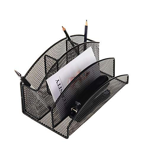 (vanra Briefsortierer Bleistift Cup Desktop Office Versorgung Organizer Metall Mesh Versorgung Caddy mit 2Mail Sortiermaschine 3Bleistift Slots 8.8