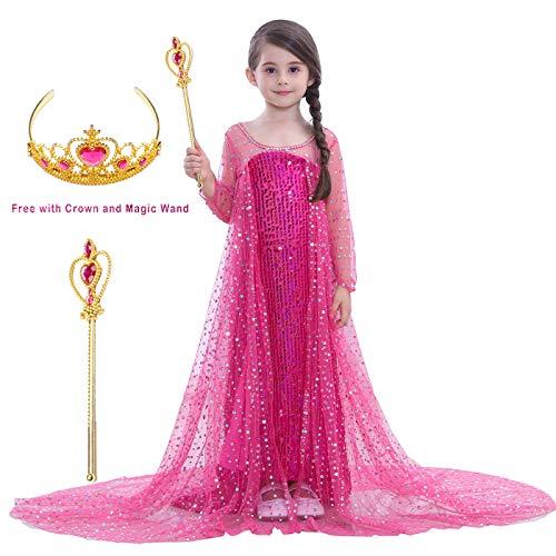 Magogo Mädchen Prinzessin Kleid Kostüm ELSA Kleider Karneval Outfit Party Fancy Rock mit Krone und Zauberstab (M 111-120cm, ()