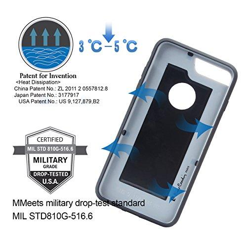 """Coque iPhone 7, Pierre Cardin [Metal Texture robuste armure] [Tech de Dissipation de chaleur] [Slim Fit] Ultimate Protection contre les gouttes & Impacts pour iPhone 7 (TPU) 4,7""""(2016)-noir Bleu"""