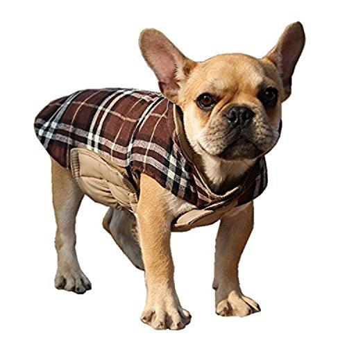 ThinkPet Hundemantel, Hundebekleidung Winterjacke reversibel, Plaid (M, Braun)
