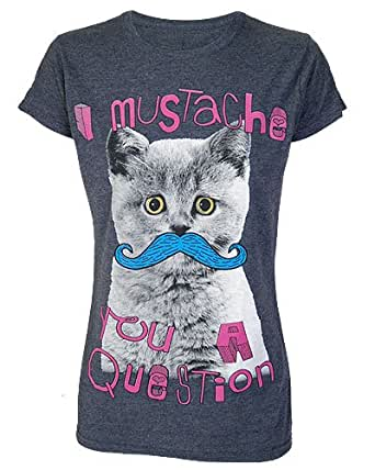 Kitty Moustache You A Question Grey Womens T Shirt Medium