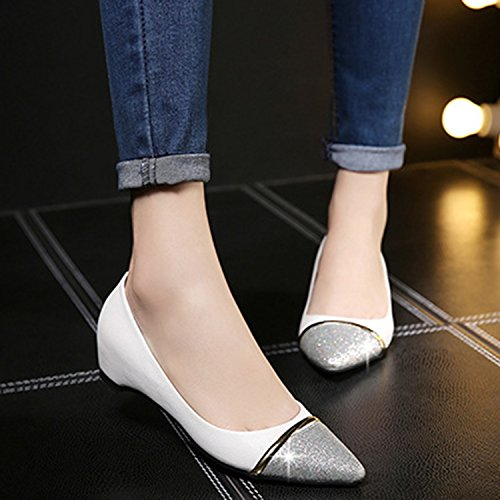 Oasap Women's Pointed Toe Slip-on Height Increasing Pumps White
