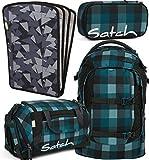 satch pack Blue Bytes 4er Set Rucksack, Sporttasche, Schlamperbox, Heftebox Schwarz