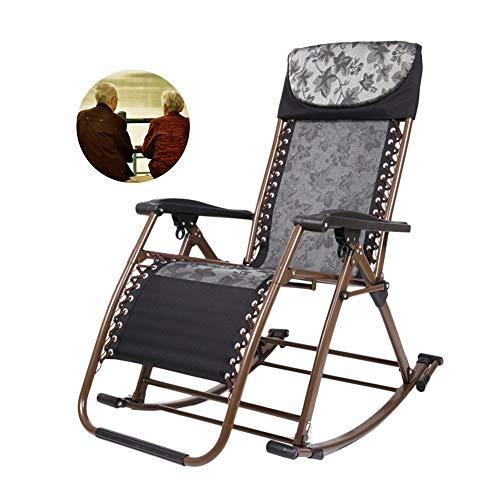 Schwere Patio Rocker Klapp Schaukelstuhl, Tragbarer Stuhl Für Outdoor Garten Deck Rasen, Großeltern, Unterstützung 200kg (Farbe : Schwarz) -
