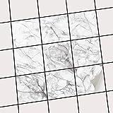 creatisto Bad Küche Fliesensticker Aufkleber Folie | Fliesen-Deko Küchenfliesen Fliesenmuster Badezimmer-Deko | 10x10 cm Design Motiv Marmor weiß - 9 Stück