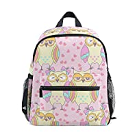 Kids Backpack Owls in Love On A Pink Kindergarten Preschool Bag for Toddler Girls Boys