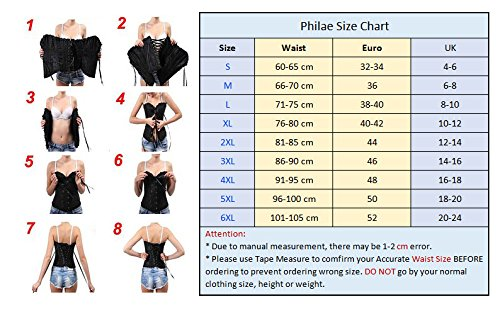 PhilaeEC Women's Plus Size Bridal Lingerie Lace up Satin Boned Corset + G-string