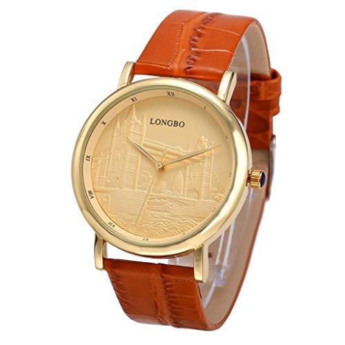 Unendlich U Fashion Armbanduhr Relief London Bridge Römischen Ziffern Goldenes Zifferblatt Wasserdicht Quarz Uhr für Herren