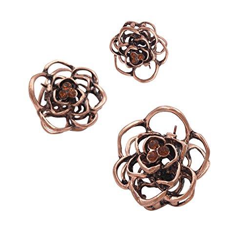 3 Vintage Rose Mini Kleine Metall Haar Klauen Clips Klemmen Mädchen Damen Frauen (Haare Haarspangen Für Kleine Mädchen)